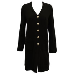 Chanel Black Cashmere V Neck Sweater Coat