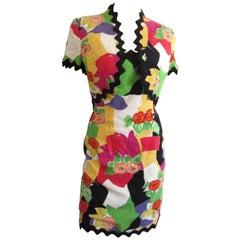1980s Victor Costa Floral Poppy Wiggle Dress w/ Bolero Jacket XS