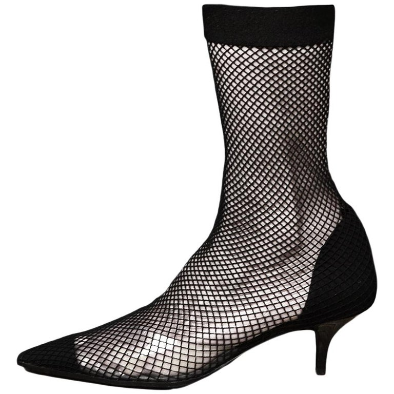 Stella McCartney Black Fishnet 70 Faux Suede & PU Sock Boot Sz 38 For Sale