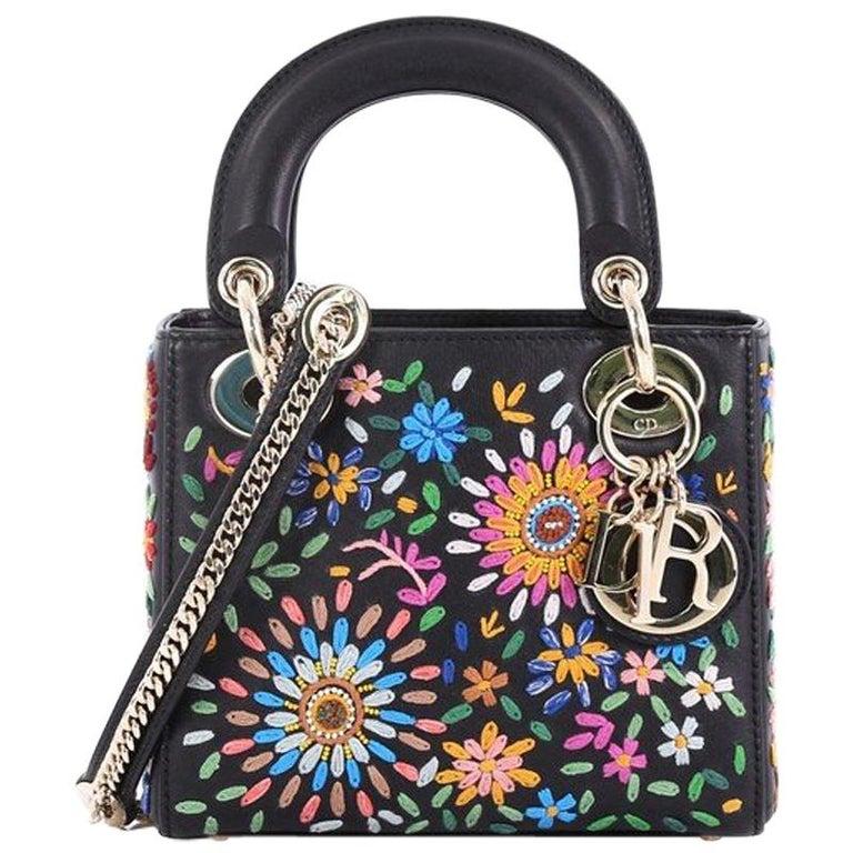 0a72ed7e30e Christian Dior Lady Dior Handbag Embroidered Calfskin Mini For Sale ...