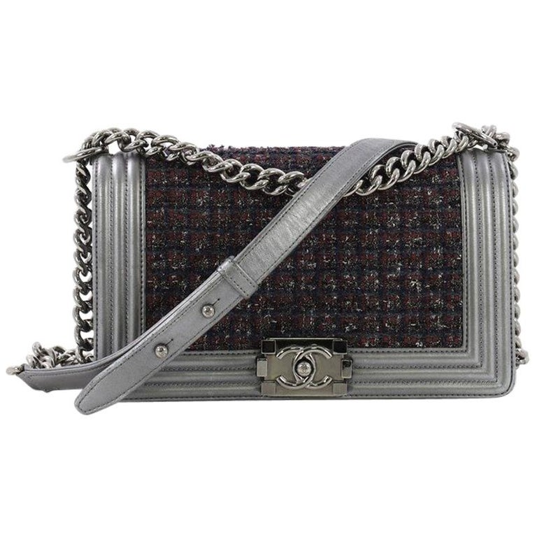a0a2dc2ffc89 Chanel Boy Flap Bag Tweed and Leather Old Medium For Sale at 1stdibs