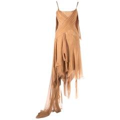 Alexander McQueen 'Irere' silk chiffon corseted evening dress, S/S 2003
