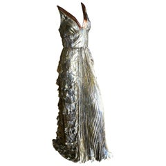 Dolce & Gabbana D&G Vintage Gold Paisley Silk Pleated and Ruffled Gown