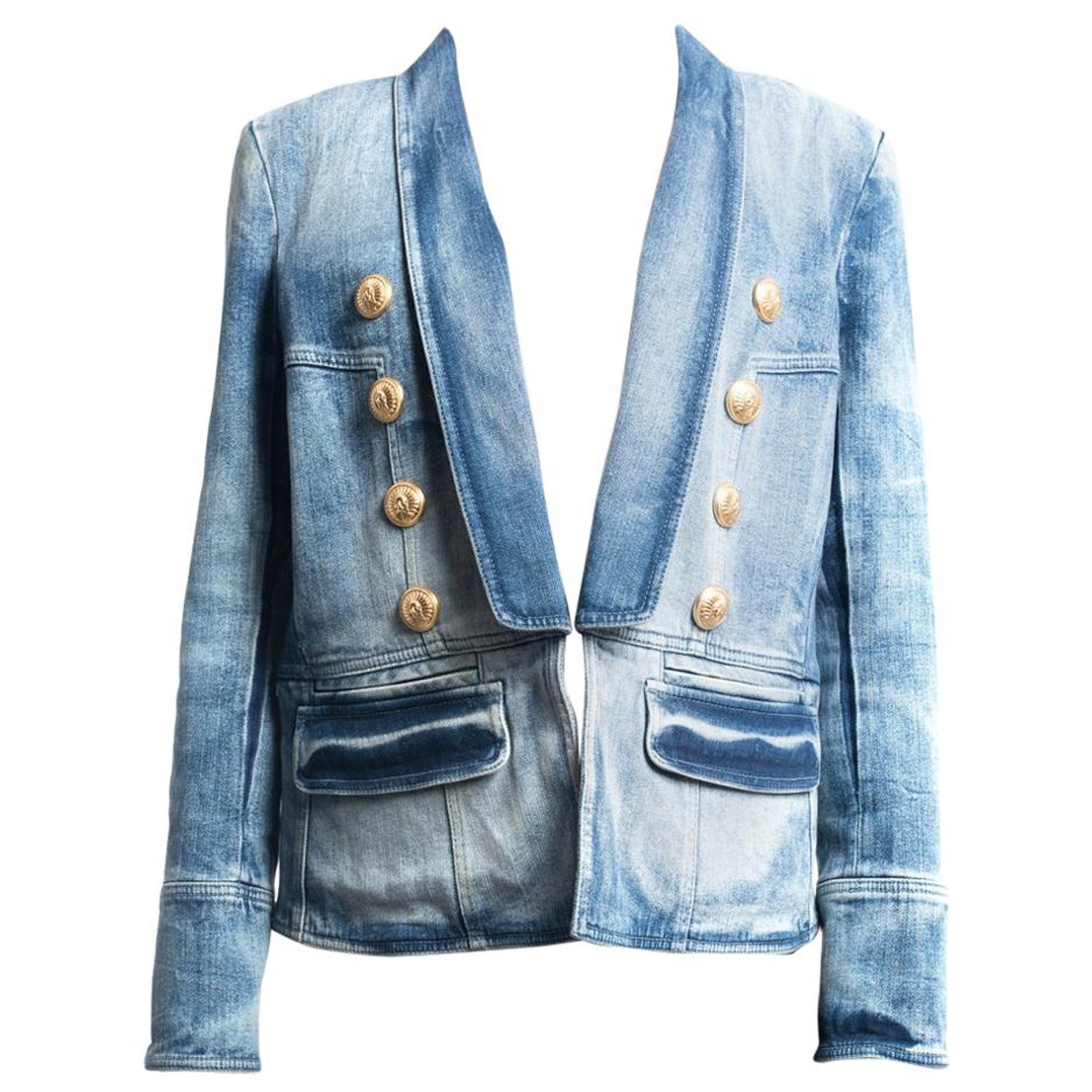 e1c47d46 Balmain Denim Jacket with Gold Military Buttons - L / 12 at 1stdibs