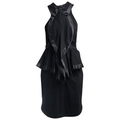 Givenchy Spring 2012 Runway Black Satin Seamed Dress - 8