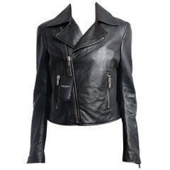 Saint Laurent Black Leather Zip Moto Biker Jacket - S