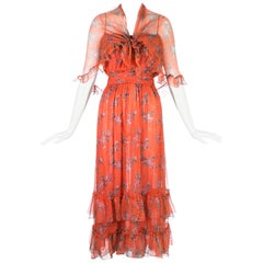 Bellville Sassoon orange floral silk chiffon summer dress with scarf, c. 1970s