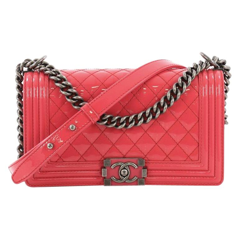 16fa05af9a96 Chanel Boy Flap Bag Quilted Patent Old Medium For Sale at 1stdibs
