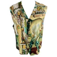 MARGUERITE 42 Olive Print Silk Buttoned Vest / Waistcoat