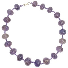 Art Deco Chinese Carved Amethyst Bead Necklace, 1920s