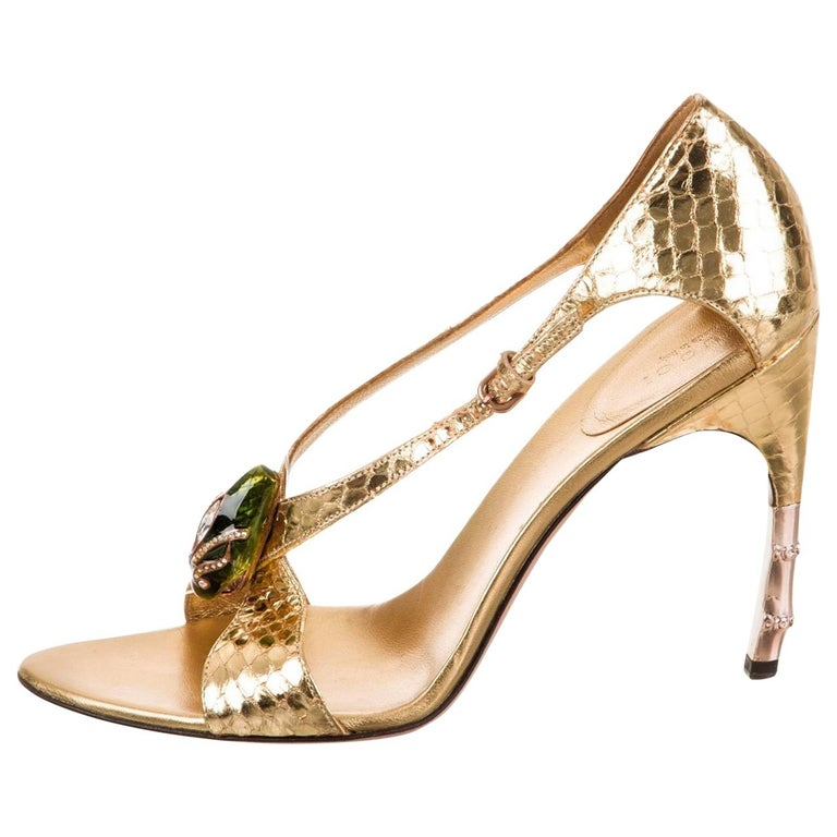 85f1ee827 Tom Ford for Gucci Python Snake Head Ad Runway Heels Sz 37.5 For Sale