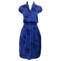 Alexander McQueen Blue + Black Lace Print Size 40 1950s Style Bustle Dress
