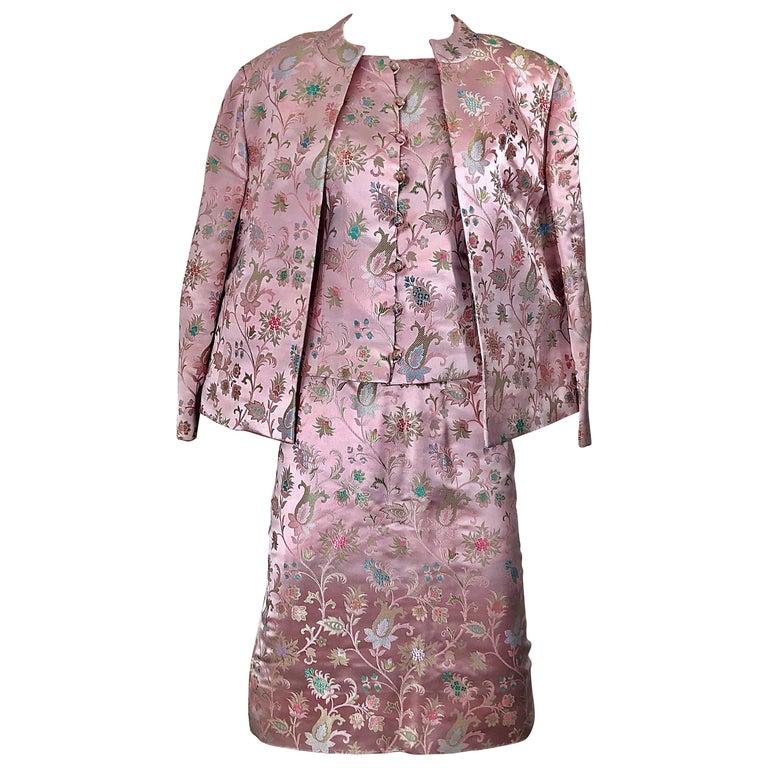 Dynasty 1960s For Lord & Taylor Light Pink Large Size 3 Piece Vintage Dress Set For Sale