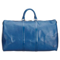 Louis Vuitton Blue Epi Leather Leather Epi Keepall 55 France w/ Dust Bag