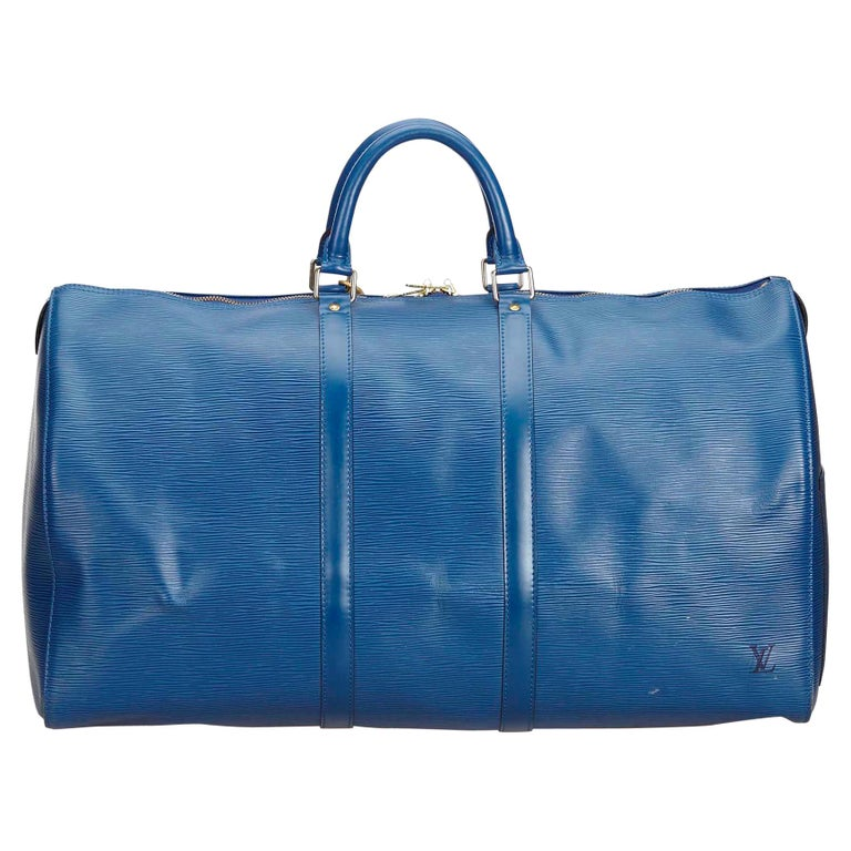 7b4bc846eb7 Louis Vuitton Blue Epi Leather Leather Epi Keepall 55 France w/ Dust Bag