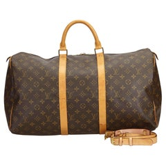 Louis Vuitton Brown Monogram Keepall Bandouliere 50 France