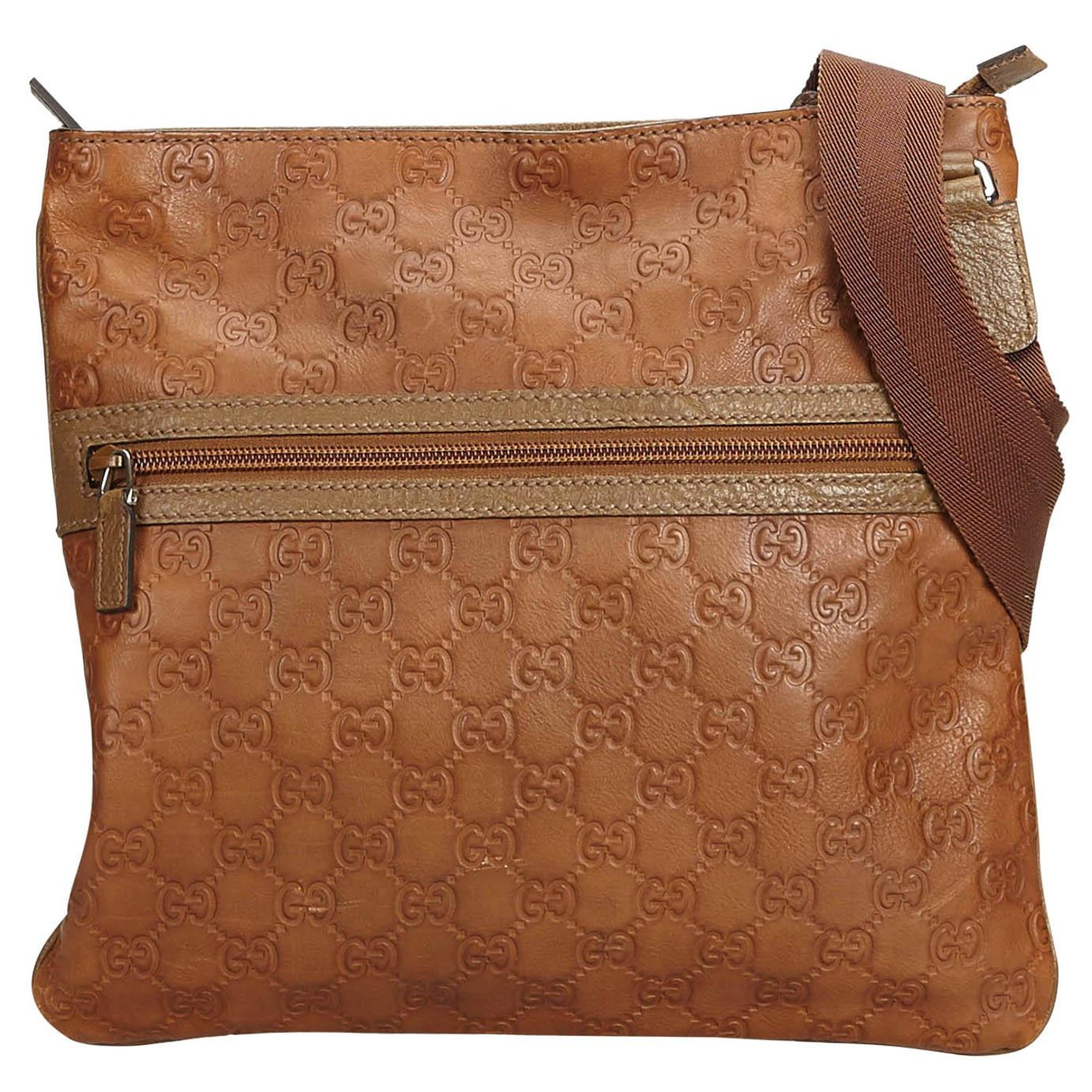 ab54d866ca3 Gucci Brown Leather Guccissima Crossbody Italy at 1stdibs