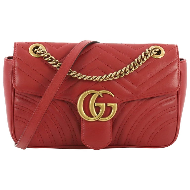 a63aa69a9e0f6c Gucci GG Marmont Flap Bag Matelasse Leather Small For Sale at 1stdibs