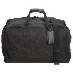 Prada Gray Dark Gray Wool Fabric Duffel Bag Italy