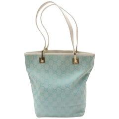 c9e1eacdf74 Gucci Light Monogram Bucket Shopper 868815 Blue Canvas Tote