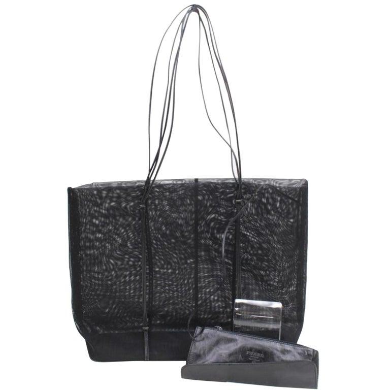 73e92070965b Prada Rare Vintage Mesh Tote with Pouch 868785 Black Nylon Shoulder Bag For  Sale