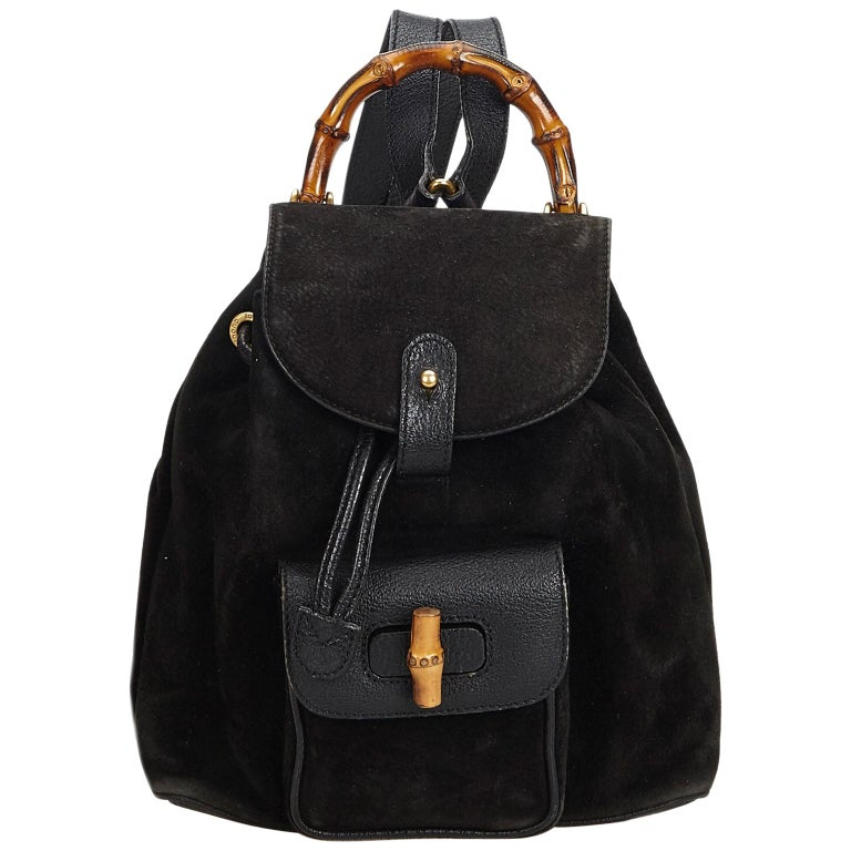 a9c166636 Gucci Black Suede Leather Bamboo Drawstring Backpack Italy For Sale ...