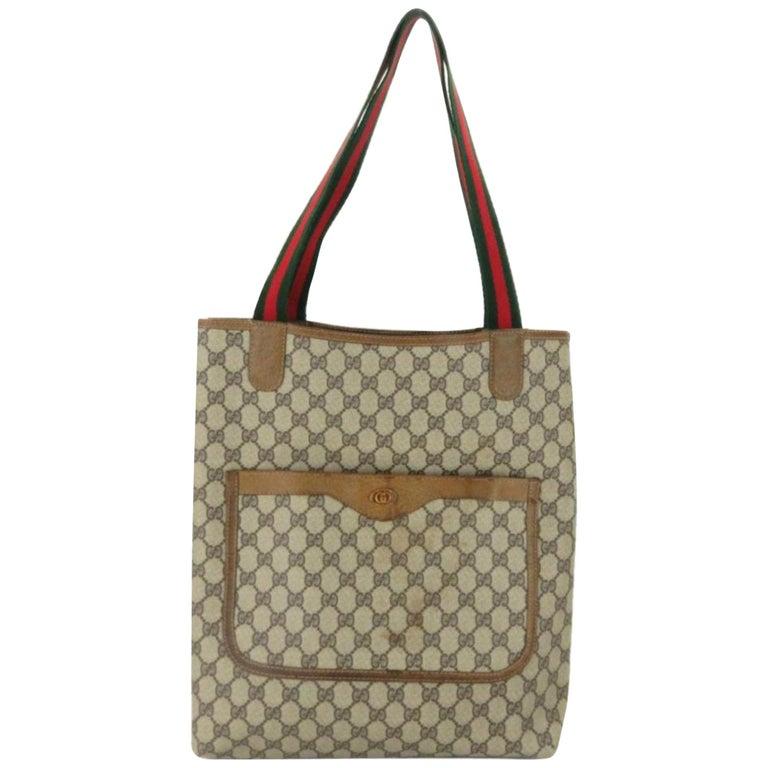 bbb6f2ec8e0192 Gucci Monogram Gg Supreme Large Web Shopper 868051 Brown Coated Canvas Tote  For Sale