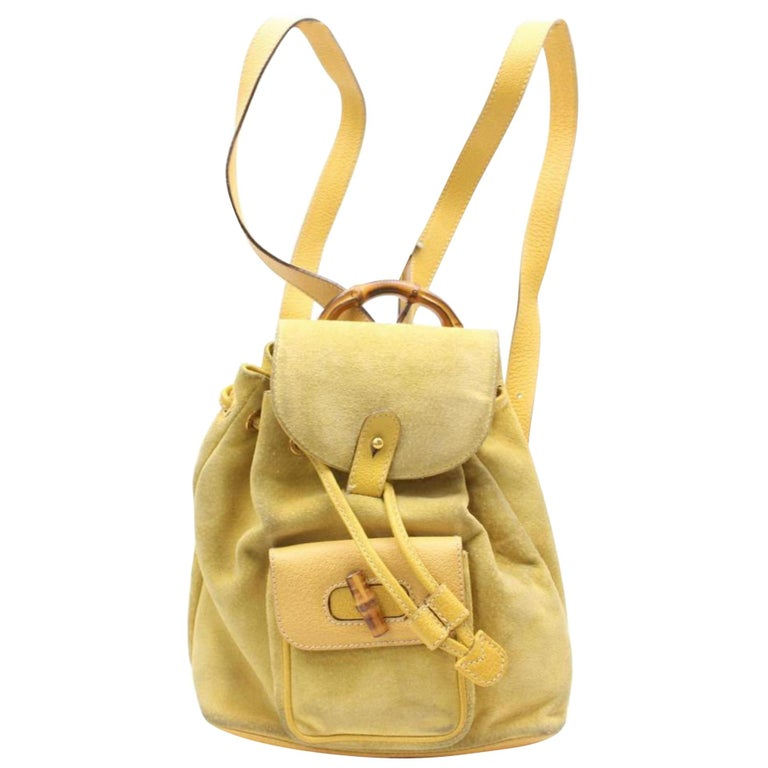 2c36f0a2e5a Gucci Bamboo 867509 Yellow Suede Leather Backpack For Sale at 1stdibs