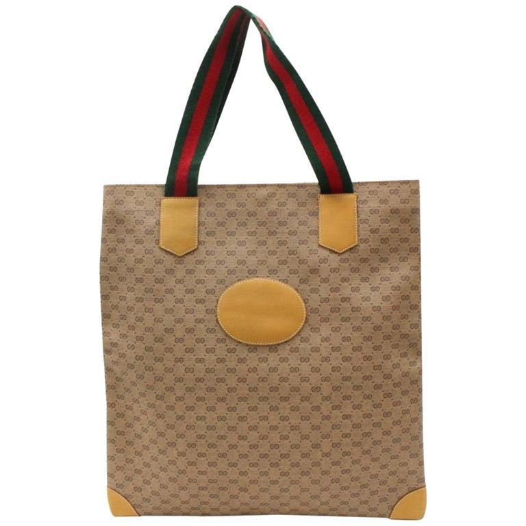eb880fbdfb75 Gucci Web Micro Monogram Logo Tote 867526 Beige Coated Canvas Shoulder Bag  For Sale