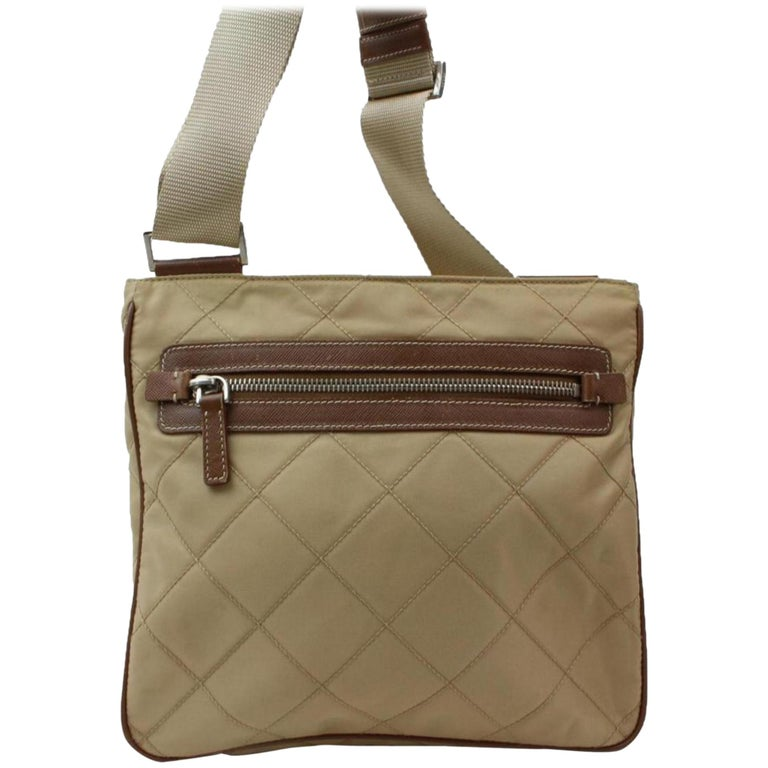 84b55233930a Prada Quilted Tessuto Messenger 868455 Beige Nylon Cross Body Bag For Sale