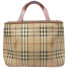 Burberry London Nova Check Haymarket 868375 Brown Coated Canvas Tote