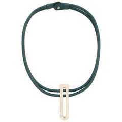 Delvaux Turquoise D Leather Necklace