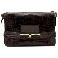 Delvaux Brown Croco Shoulder Bag