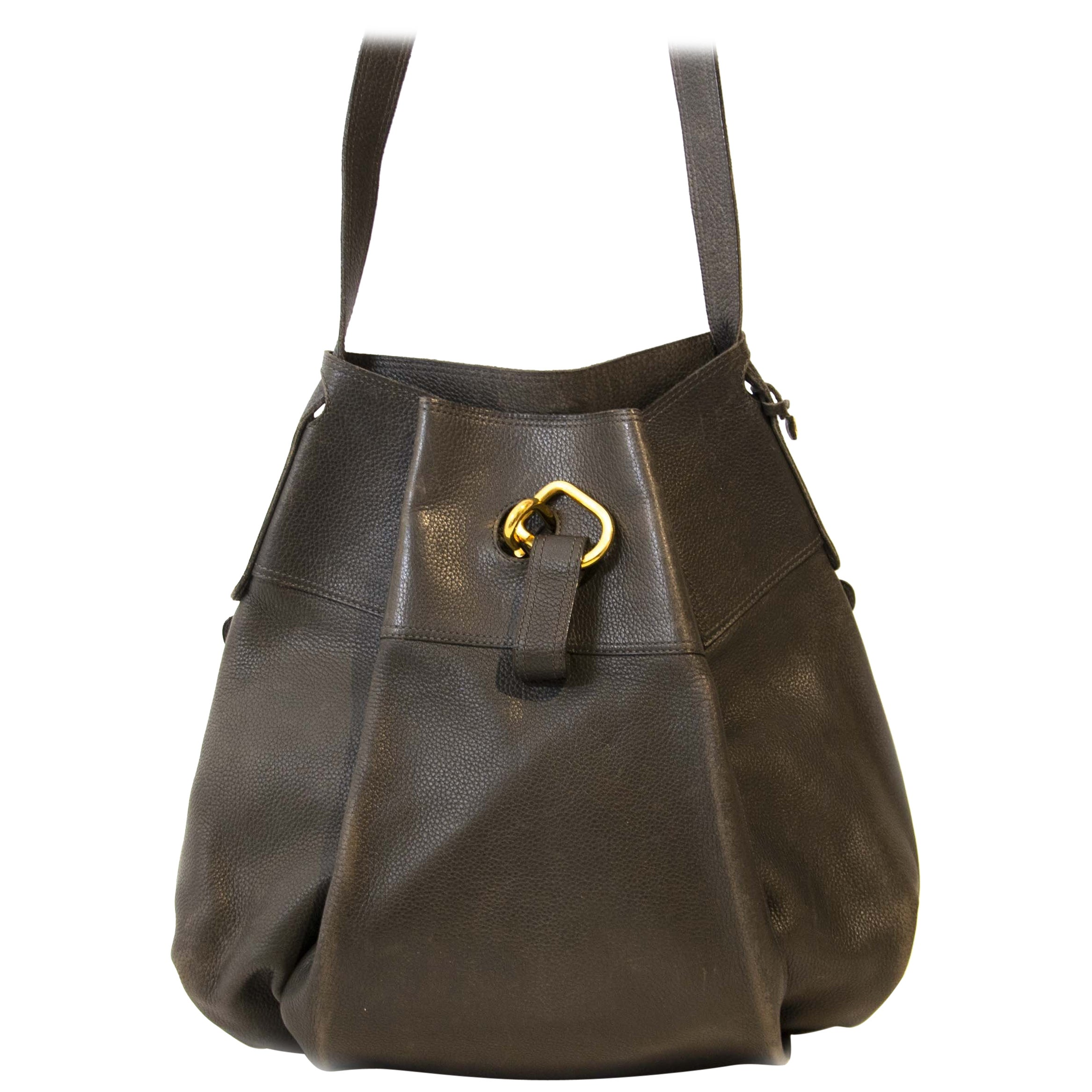 Delvaux Dark Blue Leather Faust Bag