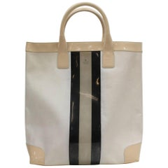 Gucci Sherry Ivory Web Shopper 868130 White Patent Leather Tote