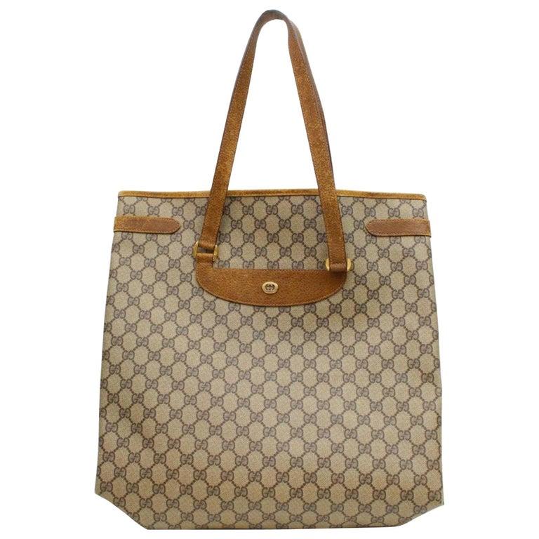ca2103ebd70967 Gucci Monogram Gg Supreme Large Shopper 868012 Brown Coated Canvas Tote For  Sale