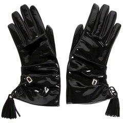 Delvaux Black Leather Vernis Gloves