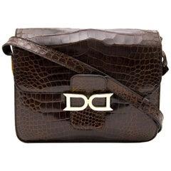 Delvaux Brown Croco Bourgogne Shoulder Bag