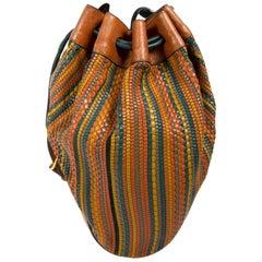 Delvaux Brown Multicolor Toile De Cuir Bucket Bag