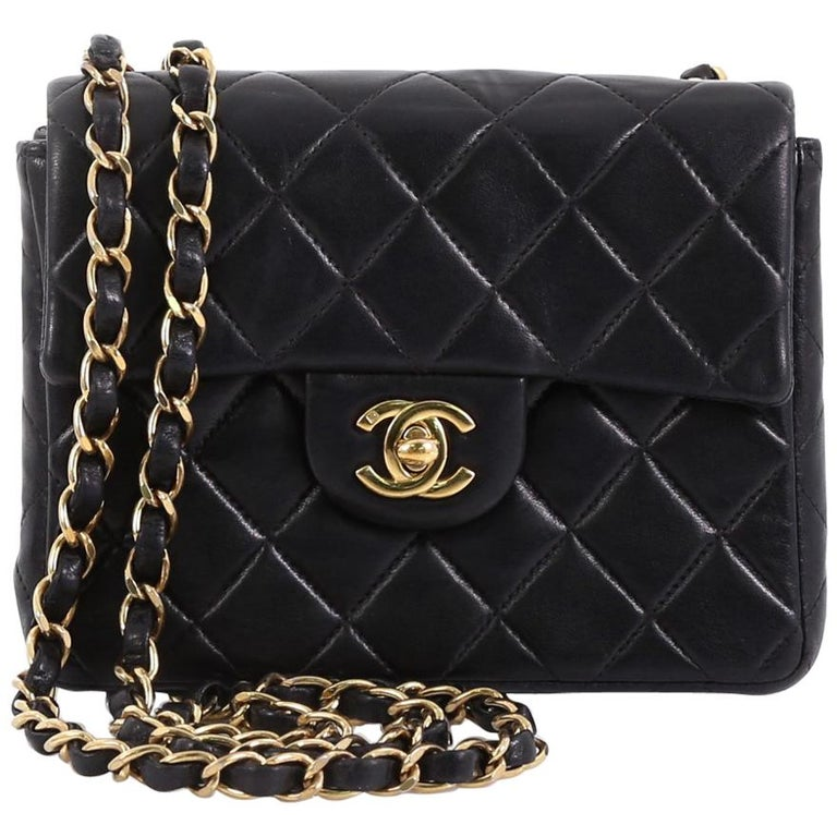 b3fbf03954a5 Chanel Vintage Square Classic Single Flap Bag Quilted Lambskin Mini For Sale