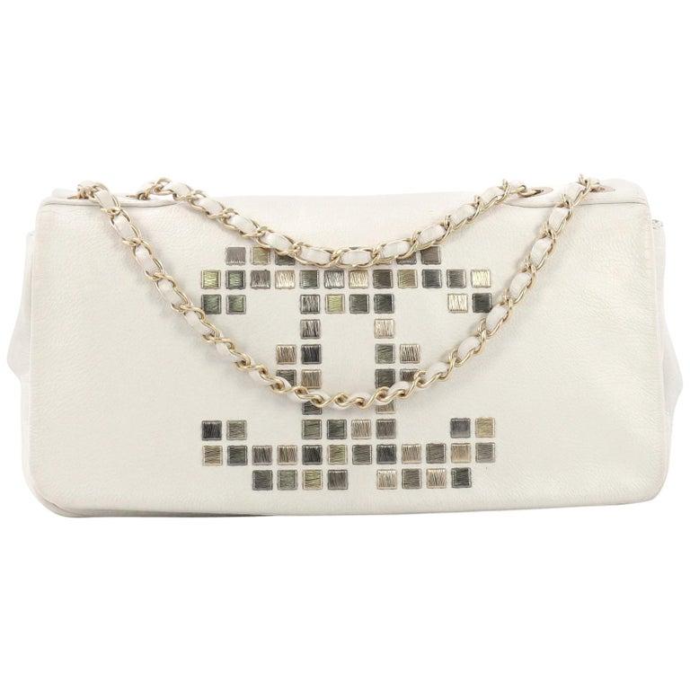 60dfc7dcdf20 Chanel Vintage Mosaic CC Flap Bag Studded Leather East West For Sale ...