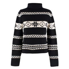 Ralph Lauren Collection Cashmere Patterned Chunky Roll-neck Jumper US 8