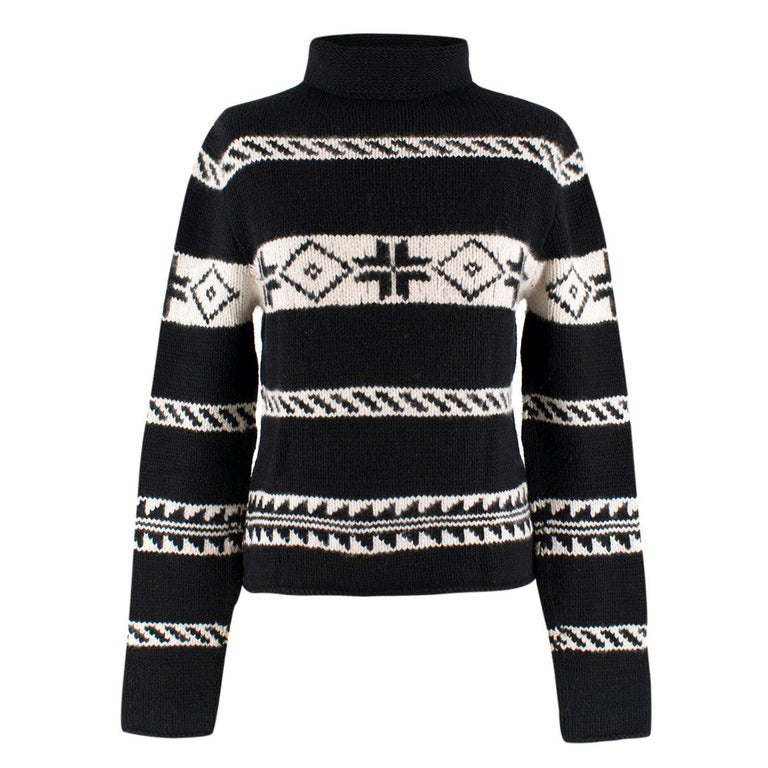 7a542f39c67e Ralph Lauren Collection Cashmere Patterned Chunky Roll-neck Jumper US 8 For  Sale