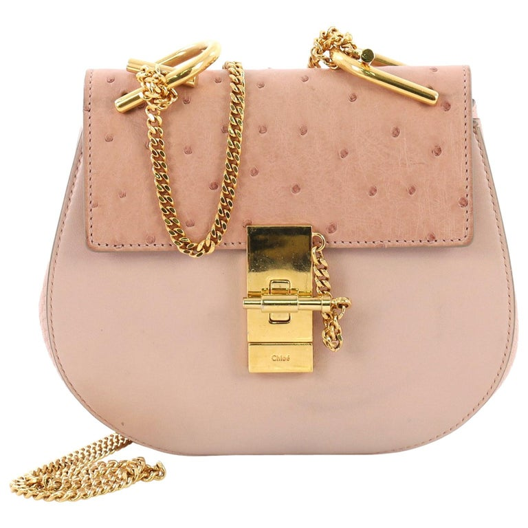e811b2e5236 Chloe Drew Crossbody Bag Leather with Ostrich Mini For Sale at 1stdibs