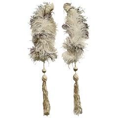 Art Deco 1920s 1930s Off White Dark Brown Ostrich Feather Boa Tassels, Paris