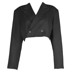 Yohji Yamamoto Black Wool Cropped Women's Blazer Jacket, 1980s