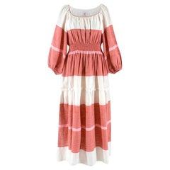 Gul Hurgel White and Pink Striped Dress US 8