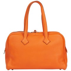 2010 Hermès Orange H Clemence Leather Victoria II 35