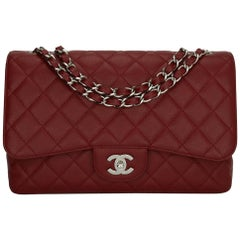 CHANEL Classic Single Flap Jumbo Bag Red Caviar with Silver Hardware 2009