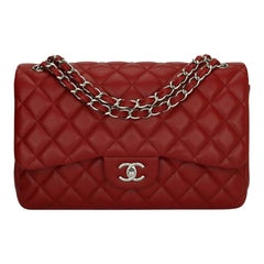 CHANEL Double Flap Jumbo Bag Red Caviar with Silver Hardware 2010